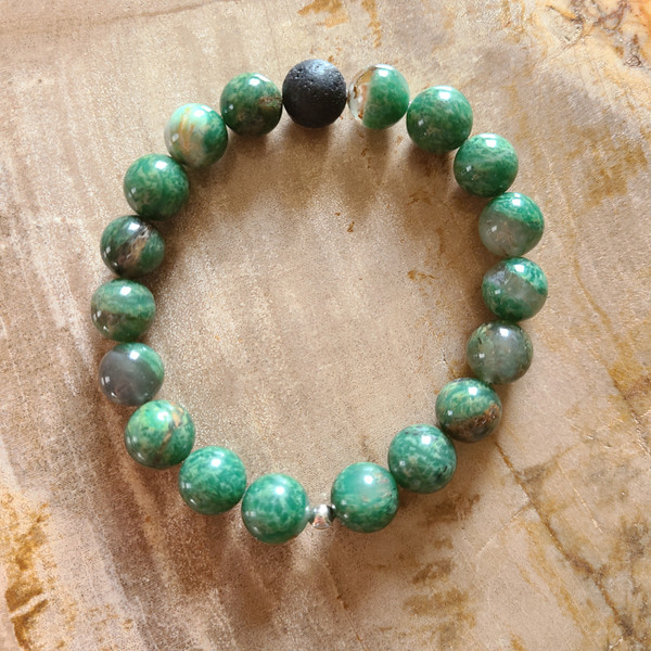 African Jade + Lava Rock Bracelet