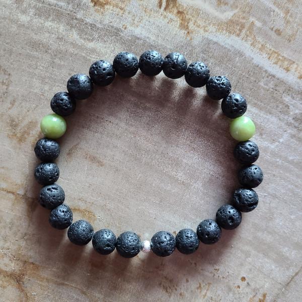 Jade + Lava Rock Bracelet