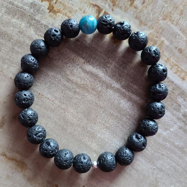 Apatite + Lava Rock Bracelet