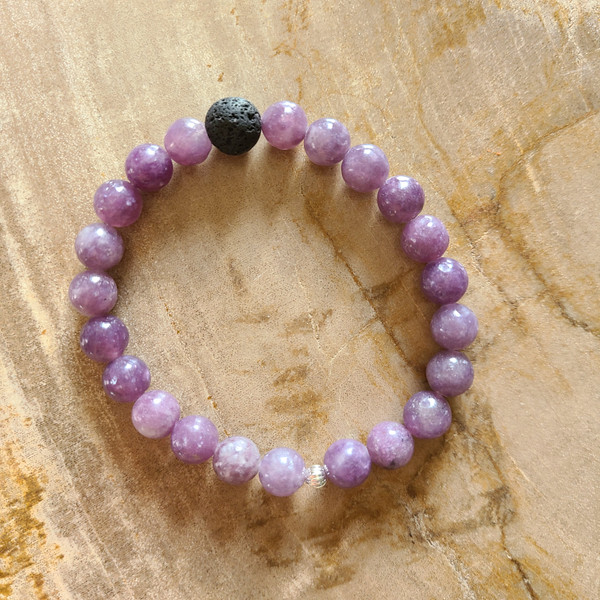 Lepidolite + Lava Rock Bracelet