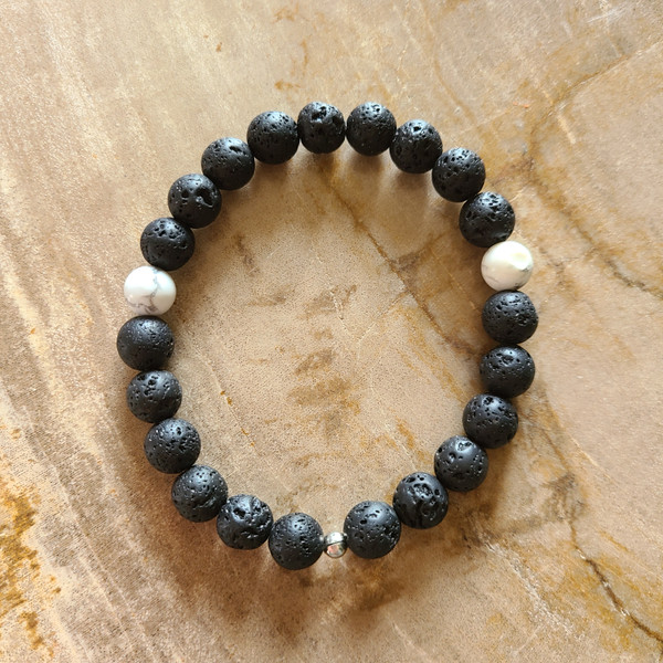 Howlite + Lava Rock Bracelet