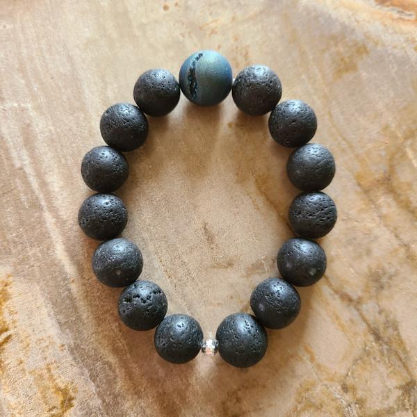 Lava Rock + Druzy Bracelet (large)