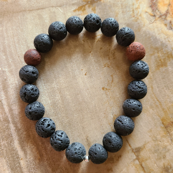 Lava Rock Bracelet (black + red, 10mm)