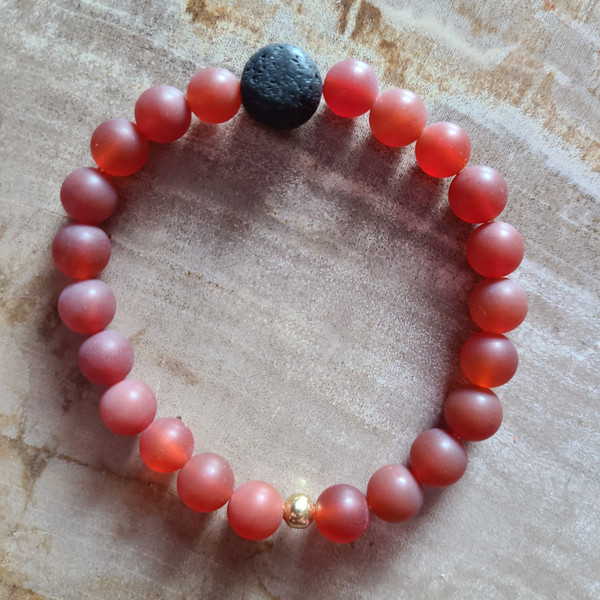 Carnelian + Lava Rock Bracelet