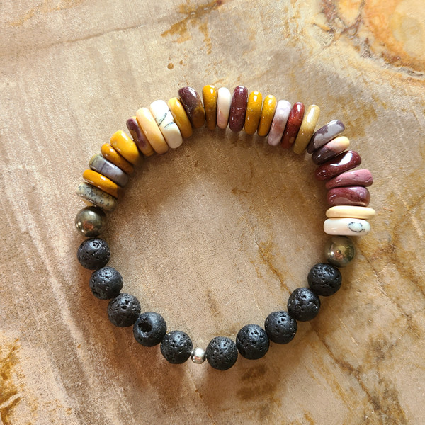 Mookaite, Pyrite + Lava Rock Bracelet