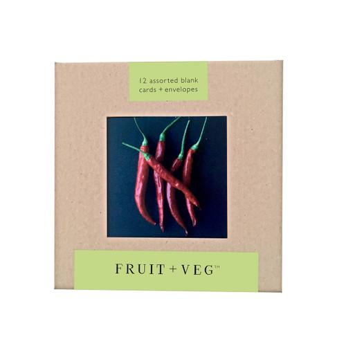 "Fruit and Veg Note Card Box Set (3x3"")"
