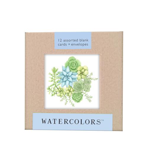 "Watecolors Note Card Box Set (3x3"")"