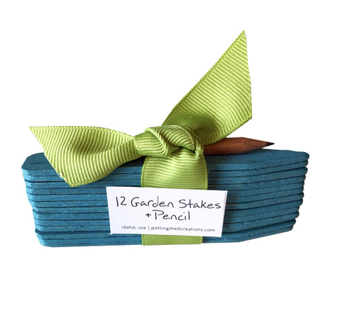 Twelve Blue Garden Stakes and Pencil