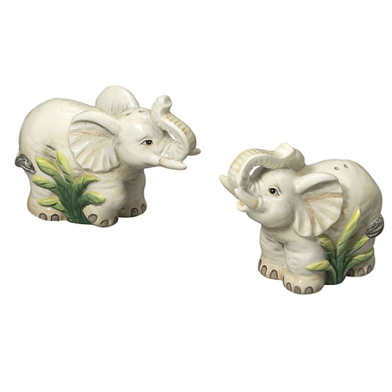 Andrea By Sadek Ceramic Elephant Grey Salt Pepper Shakers Hand Painted New
