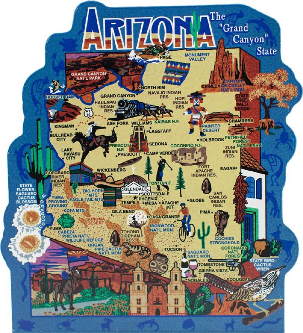 Arizona Points Of Interest Map.United States Map Arizona Grand Canyon State