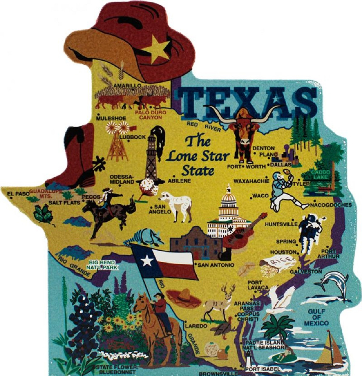 United States Map, Texas The Lone Star State