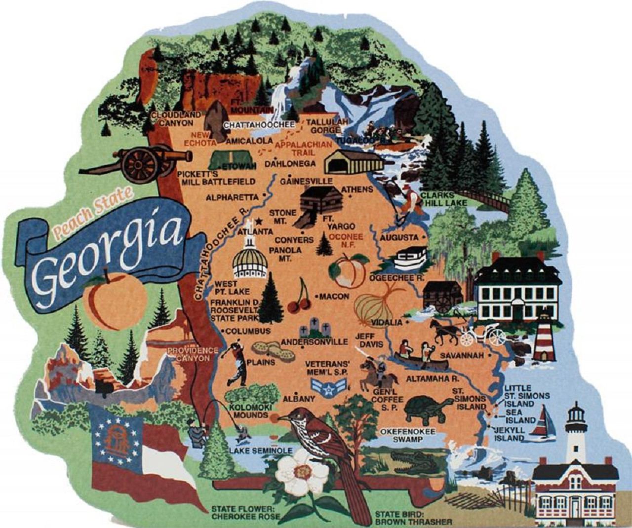 Georgia State Map Wooden Keepsake Cat S Meow Village Usa Points Of