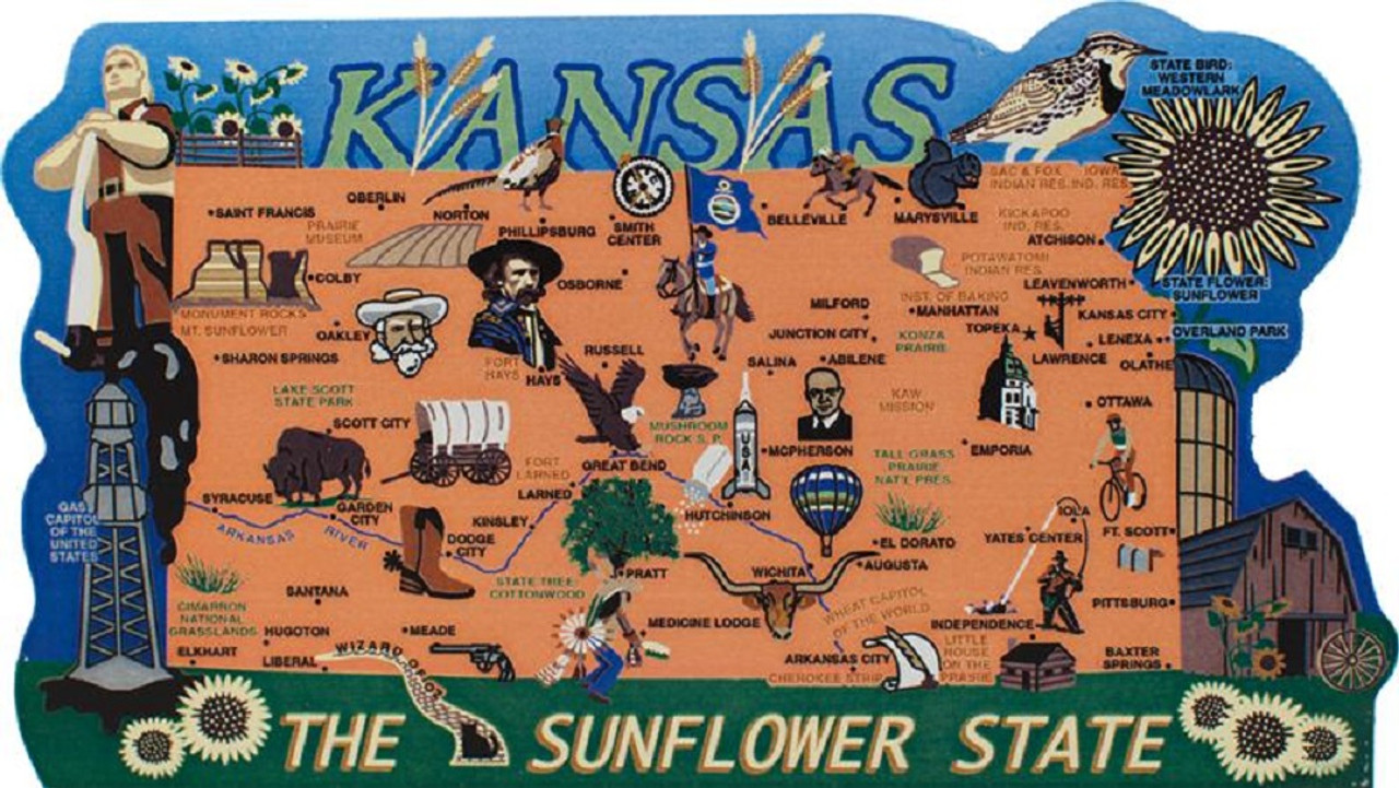 State Map Of Kansas.Kansas State Map Wooden Keepsake Cat S Meow Village Usa Points Of