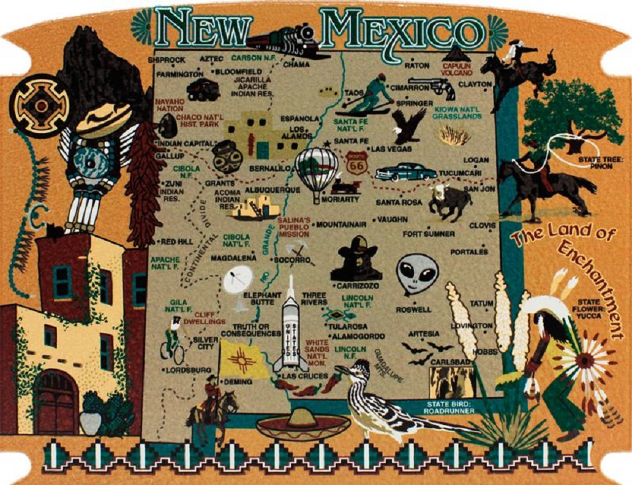 New Mexico State Map Wooden Keepsake Cat\'s Meow Village|USA Points ...