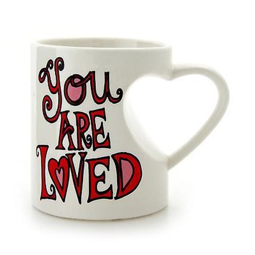 "ENESCO MUD Lorrie Veasey Ceramic Heart Shaped MUG ""You Are Loved"" NIB #4044327"