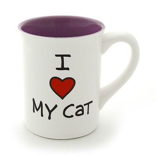 ENESCO MUD Lorrie Veasey Ceramic I Heart (Love) My CAT 16 OZ MUG #4033465 NIB