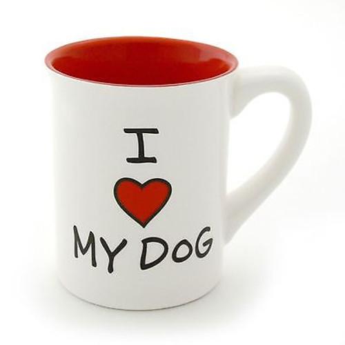 ENESCO MUD Lorrie Veasey Ceramic I Heart (Love) My Dog 16 OZ MUG #4033464 NIB
