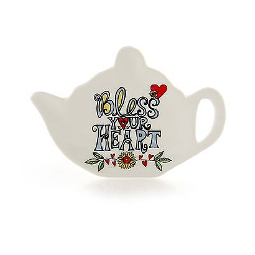 "ENESCO MUD Lorrie Veasey Ceramic Tea Bag Holder ""Bless Your Heart"" NIB #4044328"