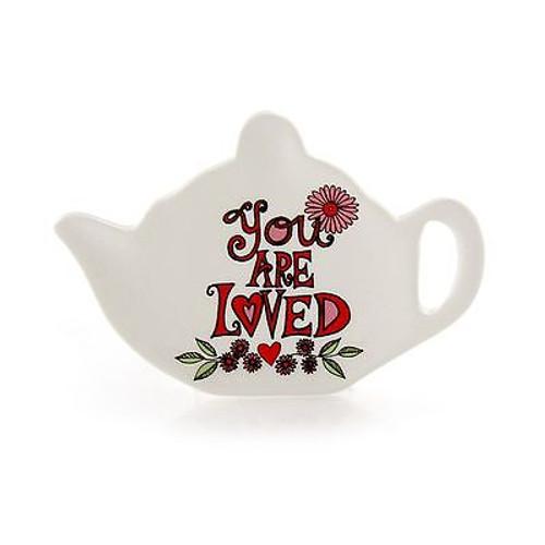 """ENESCO MUD Lorrie Veasey Ceramic Tea Bag Holder """"You Are Loved"""" NIB #4044329"""