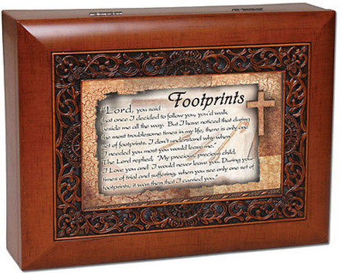 Footprints Cottage Garden Ornate Woodgrain Music Jewelry Box What A Friend Jesus