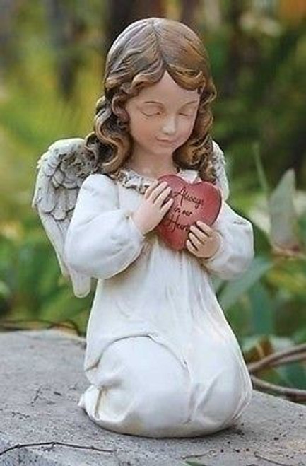 "Joseph's Studio 11.75"" Angel Memorial Verse ""Always in our Hearts"" Garden Statue"