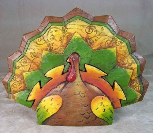 "ROMAN 7.5"" Resin Thanksgiving Harvest Turkey Puzzle Figurine #37362 NEW"