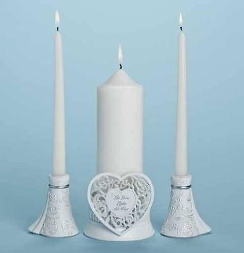 "ROMAN Gina Freehil Language of Love 4.5"" 3PC Set Unity Candle Holder #75980 NEW"