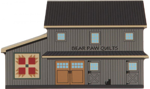 Cat's Meow Village Wooden Shelf Sitter - Bear Paw Quilt Barn #15-511