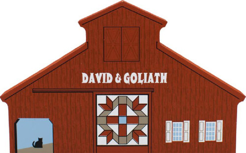 David & Goliath Quilt Barn, Cat's Meow Village Shelf Sitter #11-511