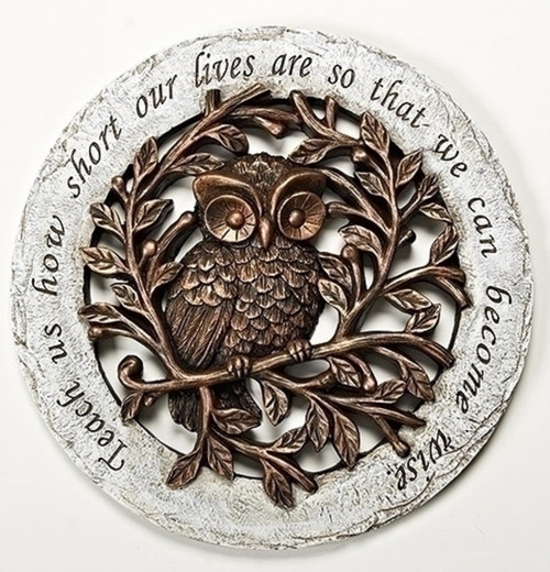 ROMAN Garden Yard Stepping Stone Wise Owl - Teach us how short our lives ... #10463
