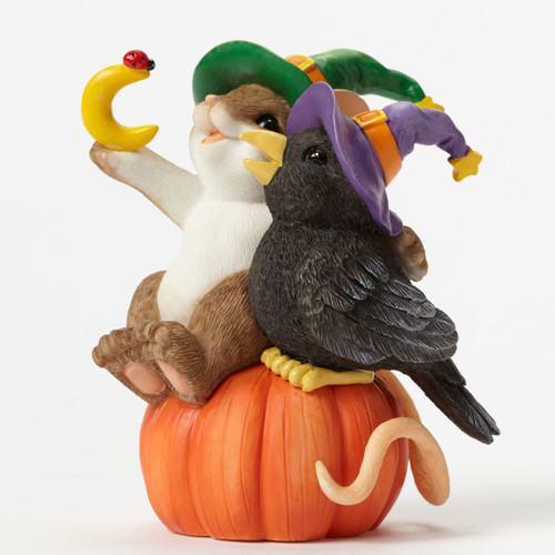 """Charming Tails Mouse Figure HALLOWEEN """"The Magic of FRIENDSHIP Helps Us Crow Closer"""" 4046777"""