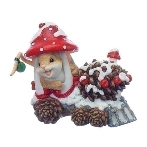 Charming Tails Mushroom Train Mouse Figure #130446