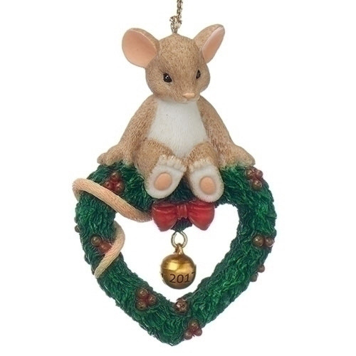 Charming Tails 2017 Ornament Mouse on Wreath w/Bell