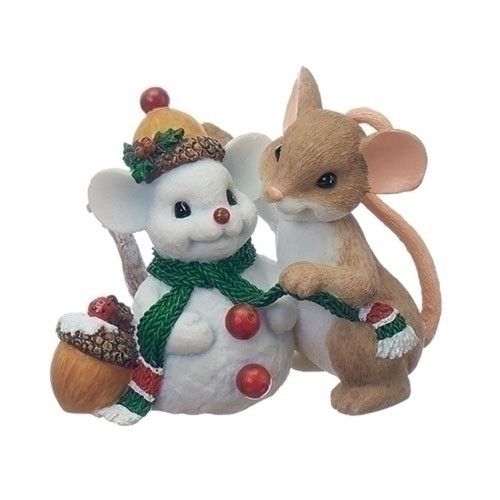 Charming Tails Mouse Figure w/Snowman Friend #130444