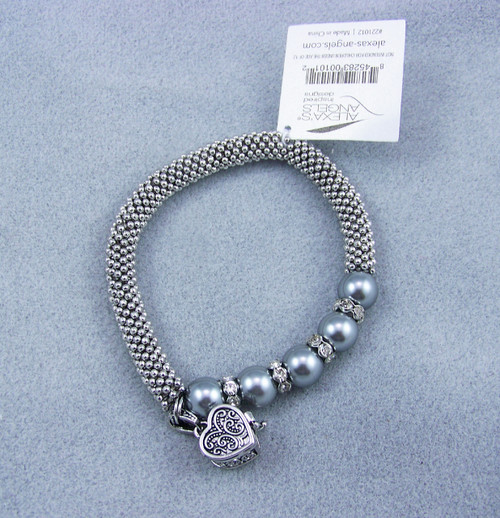 Alexa's Angels Rhodium stretch Prayer Box Bracelet