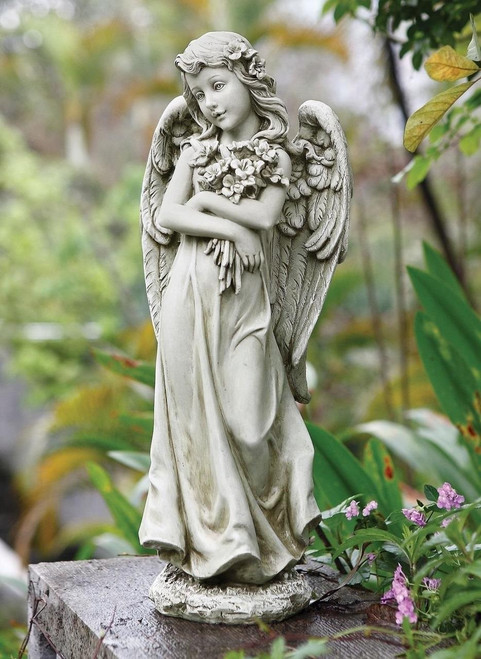 "19.75""H Angel Hugging Bouquet Garden Statue #66453"