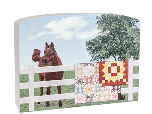 Cat's Meow Village Keepsake Amish Horse Quilt Fence #19-513