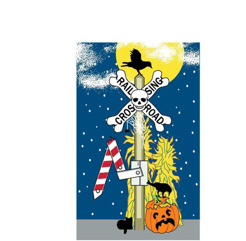 Cat's Meow Village Railroad Crossing Sign Skull and Crows #19-634