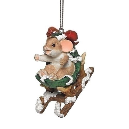 Charming Tails Mouse in Leaf on Sled #132098