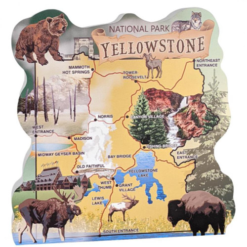 Yellowstone National Park Map, Wyoming Collectible