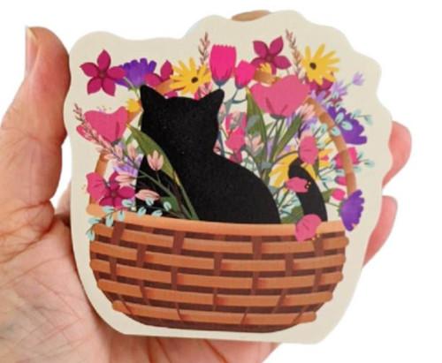 Cat's Meow Village Casper Cat Mascot Blooms & Purrs Basket