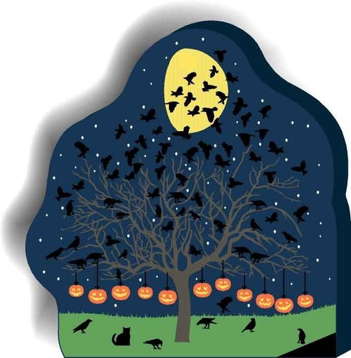 Cat's Meow Village Halloween Spooky Pumpkin and Starling Tree #13-633