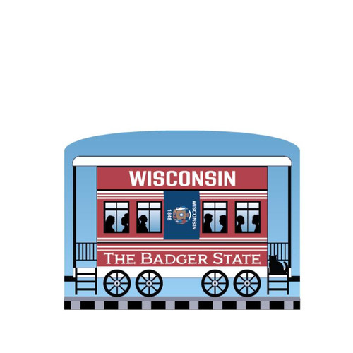 Cat's Meow Village Pride America Patriot Train Wisconsin State Car 21-426WI