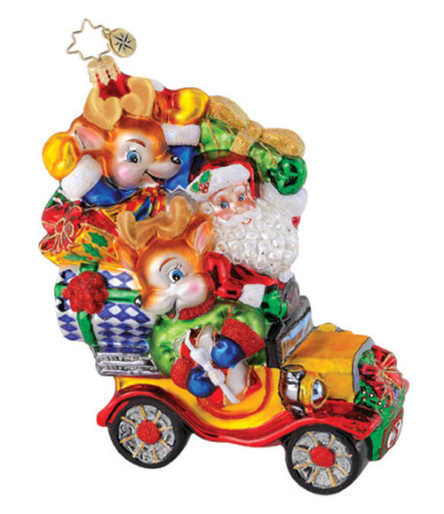 Christopher Radko Reindeer Roadster Glass Ornament