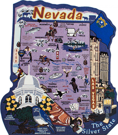 United States Map, Nevada Silver State