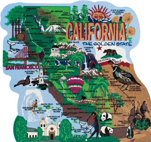 United States Map, California The Golden State