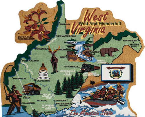 United States Map, West Virginia Mountain State
