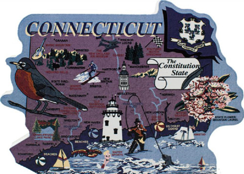 United States Map, Connecticut Constitution State