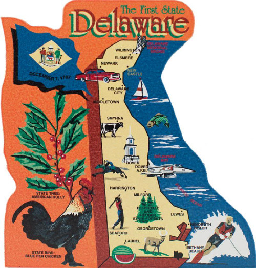 United States Map, Delaware First State