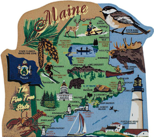 United States Map, Maine Pine Tree State